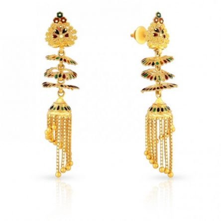 Beautiful Jhumki Earrings With Gold