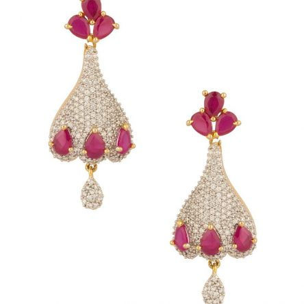 Lovely Gem Studded Jhumka Drop Earrings