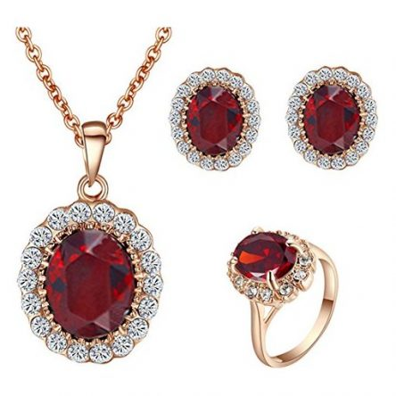 22ct yellow Gold dazzling Red stone Jewel Set