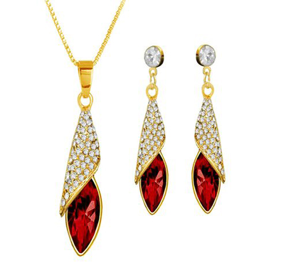 Modern Cone Shaped Pendant in Yellow Gold with Red & White stones
