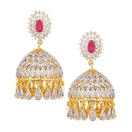 Beautiful Jhumki Earrings With White & Red stone