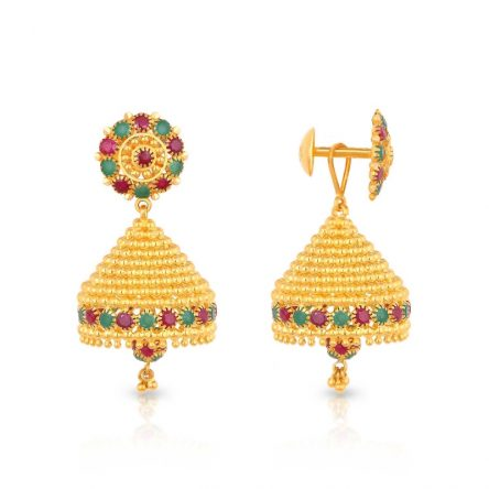 Colourful Red & Green Jhumka Earrings