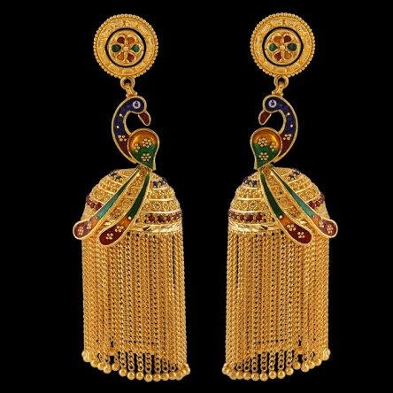 Peacock Design Ethnic Tassel Jhumki Earrings