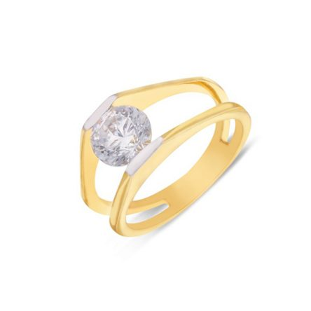 Yellow Gold Ring With Cz Embellishment