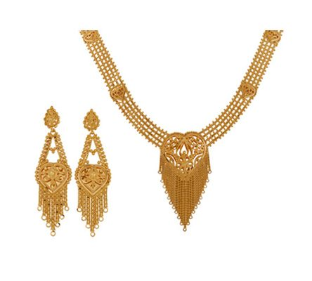 Classic Intricately Designed Necklace with Earring