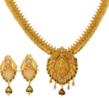 22ct Gold Necklace Set With Earrings