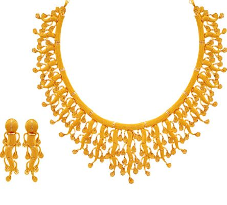 Sensational 22ct Yellow Gold Necklace Set with Earrings