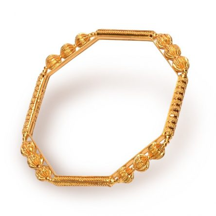 Geometrical Shape Encrusted Yellow Gold Bangle